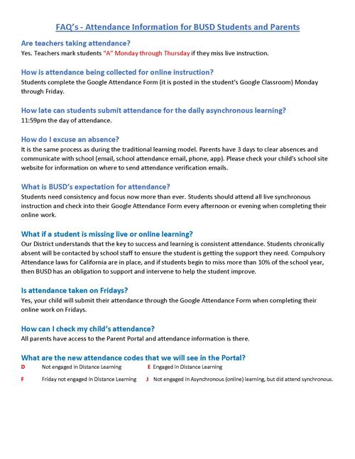 FAQs about attendance