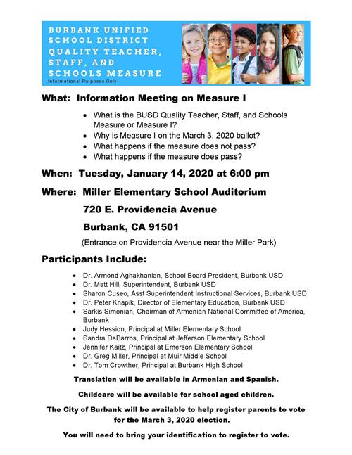 Informational Meeting on Measure I - 01/14/2020