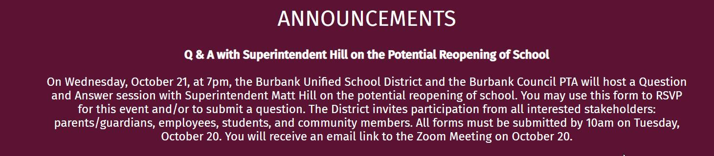 Q & A with Superintendent Hill on the Potential Reopening of School