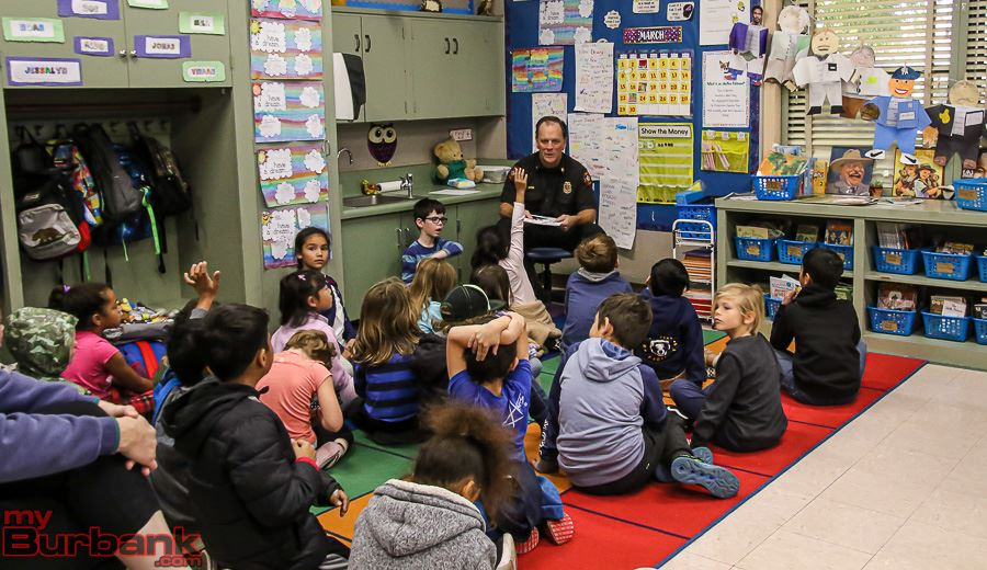 Fire Chief reading with students