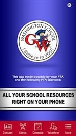 Photo of the Washington Elementary School App homepage.