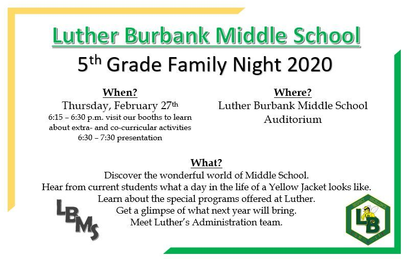 Fifth Grade Family Night Coming Soon!