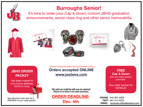 Cap & Gown Order: Attention Seniors! Deadline to order is Dec. 4!