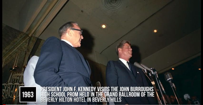 1963 John Burroughs High school prom with John F. Kennedy
