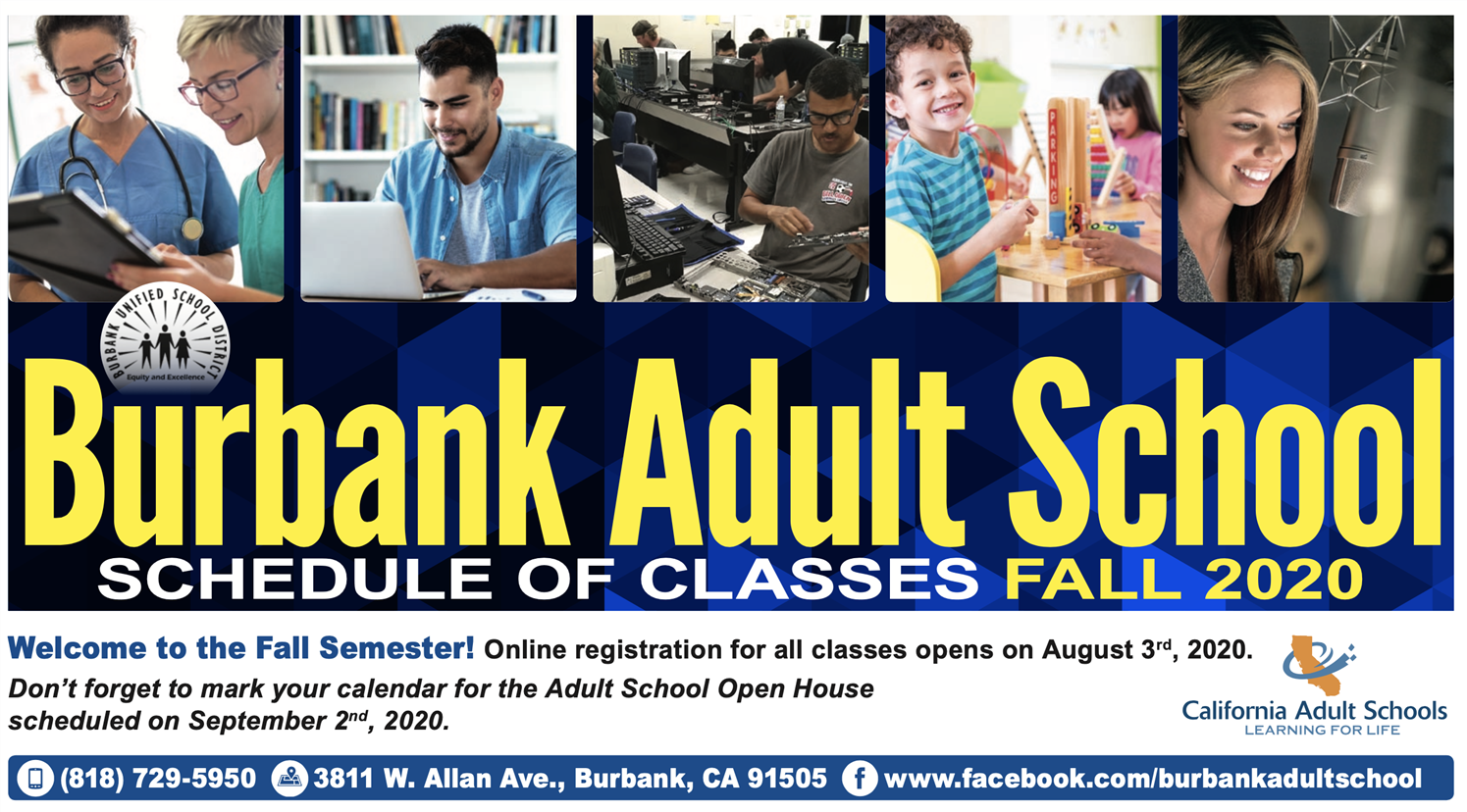 Fall 2020 Adult School Catalog - Registration opens online August 3, 2020