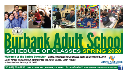 Spring 2020 Adult School Catalog - Registration opens online December 6, 2019