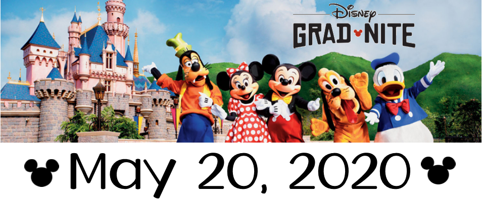 Disney Grad Nite image with disney characters and date May 20, 2020