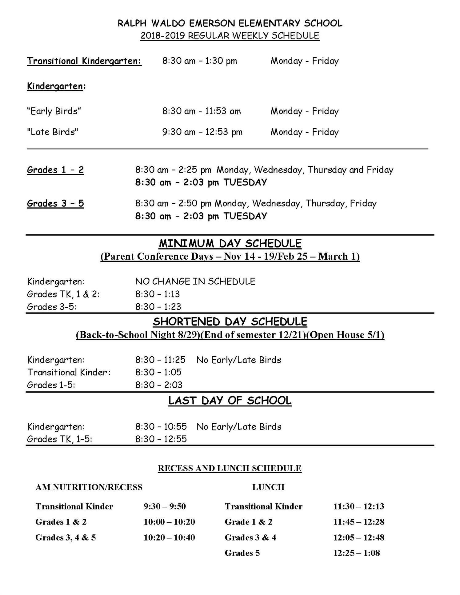 Link to Weekly Bell Schedule 2018-2019 PDF