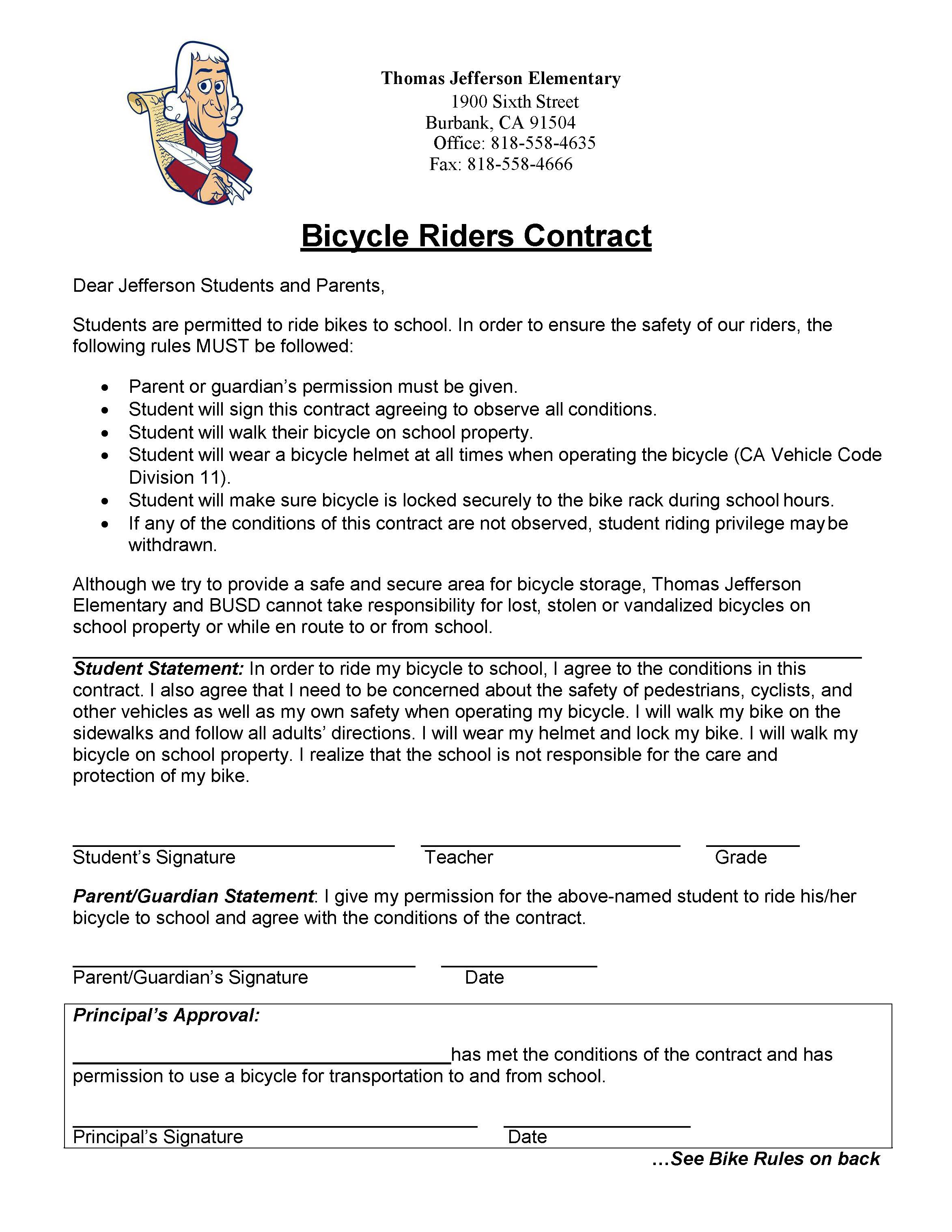 TJ Biking To School Contract
