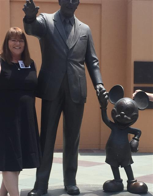 Mrs. Hwang and Walt Disney Statue