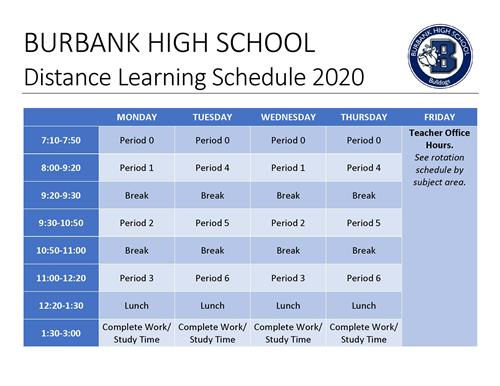 distance learning schedule with link below