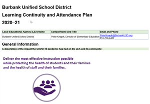 Link to Learning Continuity and Attendance Plan