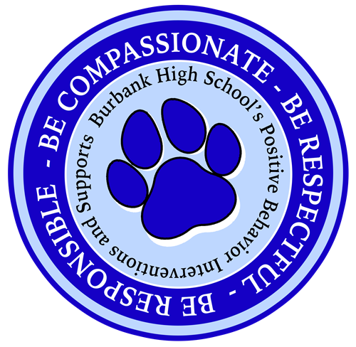 "Paw Logo Decorative ""Be Compassionate, be respectful, be responsible. BHS's Positive Behavioral Intervention/Supports"