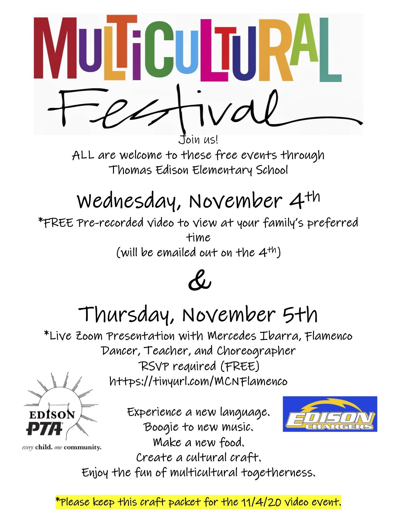 Multicultural night flier to link