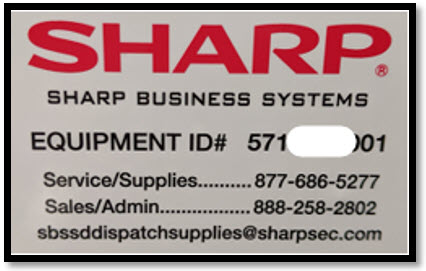 Sharp service tag with link to email